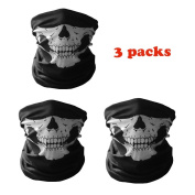 Ploopy 3Pcs Skull Outdoor Face Mask, Half Skull Face Bandana Mask Scarf, Microfiber Multifunctional Seamless Headwear Ski Motorcycle Snowboard Cycling Hiking, One Size Fits All