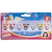 """Joy Toy """"Mia and Me"""" Stickers Earrings Set and 7 Rings"""