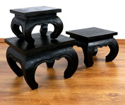 Opium Table Small Black Select Size Side table for couch or bedside, solid wood, Asiatic colonial style 26x26cm