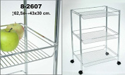 DonRegaloWeb Vegetable Rack and Kitchen Trolley With 3 Metal Basket Shelves and Wheels