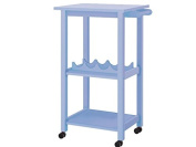 Lifestyle Design 636172 Alabama Kitchen Trolley 86 x 40 x 55 cm Rubber Wood, Bemahlt MDF Solid Wood Legs, Light Blue