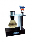 Wenge Wood and Stainless Steel Shaving Set with Fusion Plucked and Hair