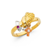 14K Tri-Colour Gold CZ Prayer Hands Ring