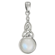 Sterling Silver Celtic Triquetra Knot Pendant with Rainbow Moonstone