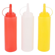 sourcingmap® 3Pcs 200ml Red Yellow White Plastic Sauce Bottle For Kitchen Using
