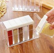 K & C 6 Spice Shaker Seasoning Bottles Spice Rack Holder Jar Condiment Storage Container with Tray for Salt Sugar Cruet Pepper White