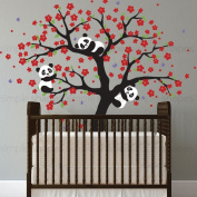 sinesshop Panda and Cherry Blossom Tree Wall Decal Removable Vinyl Window Room Wall Stickers Animal Decal DIY Art Mural Home Decor Gift for Baby Nursery, Kids