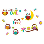 Winhappyhome Owls Wall Stickers for Kids Room Nursery Background Removable Decor Art Decals
