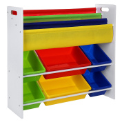 Songmics Toy Storage Unit with 9 Plastic Bins GKR03W