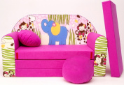 16 + Children's Fold-Out Sofa Couch Sofa Mini 3 in 1 Baby Set + Child Seat and Seat Sofa Cushion/Mattress
