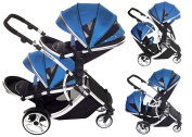 DUELLETTE 21 BS Twin Double Pushchair Tandem Stroller buggy 2 seat units, compatible with Kids Kargo safety Pod Car seat OR maxi cosi clips or Britax Baby safety Car seat. (sold separately) 2 Free Teal footmuffs 2 Free rain covers Black /Teal Silver ch ..