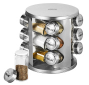 Stoneline 16968 Spice Rack with 12 Glass Bottles Cookware/Stainless Steel Look