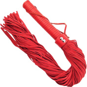 Rouge Garments One Size Red Leather Handle, Suede Flogger