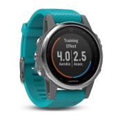 Garmin Fenix 5S Multisport GPS Watch with Outdoor Navigation and Wrist-Based Heart Rate - Silver with Turquoise Band