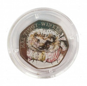 Handmade Decal Varnish Seal Beatrix Potter Mrs Tiggy-Winkle Coloured 50p Fifty Pence Coin with Capsule Holder *NOT SILVER PROOF*