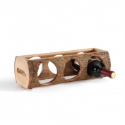 Danya B. WS16139 Stackable Three Bottle Wine Holder Log - Acacia Wood with Bark