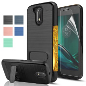Moto G4/G4 Plus case,[Not fit Moto G4 Play],AnoKe[Card Slots Holder][Not Wallet] Kickstand Hard Plastic PC TPU Hybrid Shockproof Case For Motorola Moto G 4th Gen/G Plus 4th Generation KC1 Black