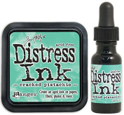 Tim Holtz Ranger Distress January Colour of the Month Cracked Pistachio Ink Pad and Reinker Bundle