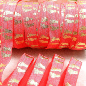 Midi Ribbon Gold Footprint Stretch Fold Over Elastic Ribbon 1.6cm X 10 Yards/Pack for Hair Tie Headband Scrapbooking Watermelon Colour