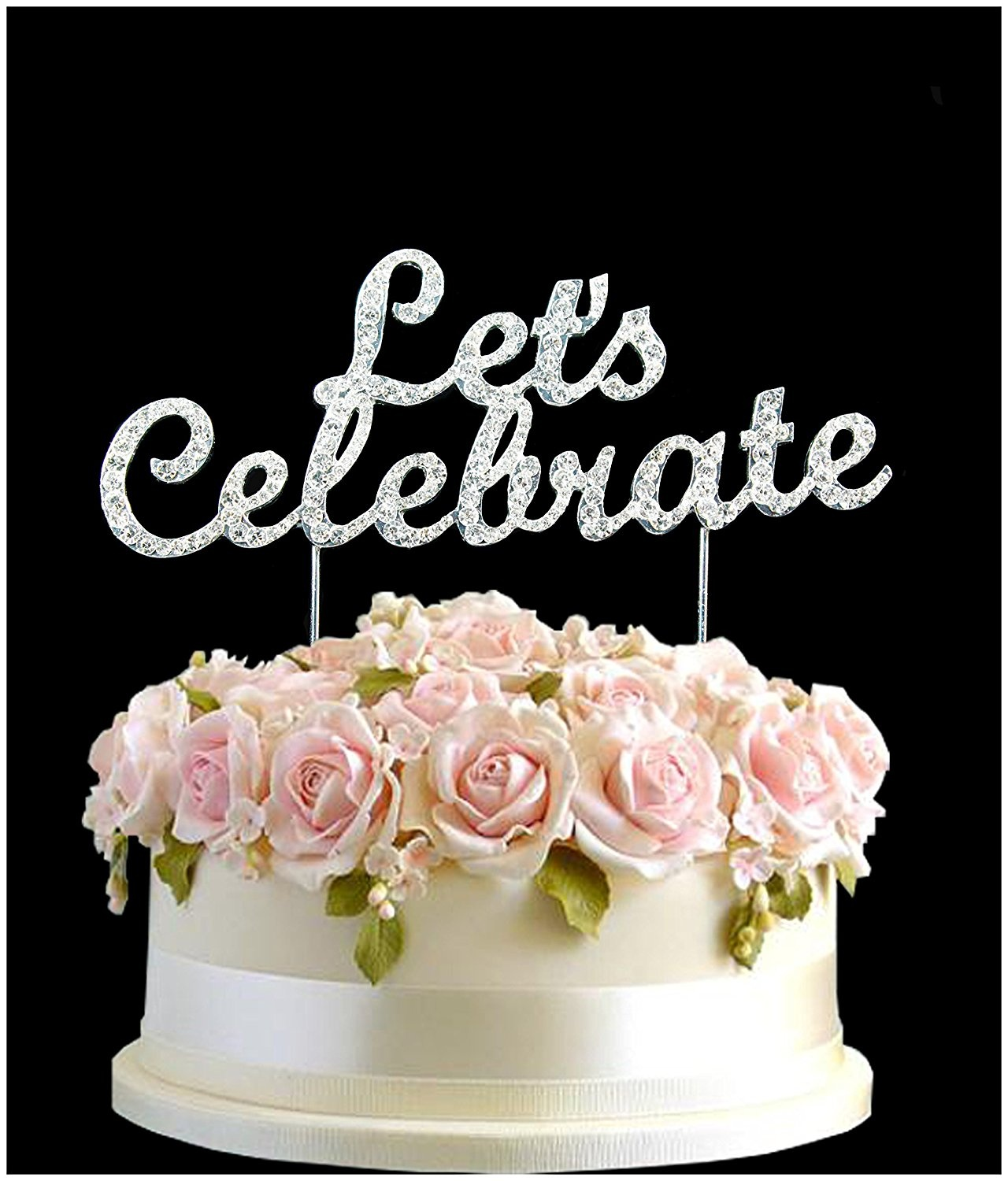Rhinestone Lets Celebrate Wedding Birthday Cake Topper Number Pick