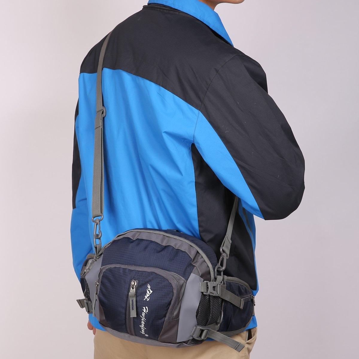 Black-HWJIANFENG-Crossbody-Waist-Bag-Funny-Pack-Hiking-Cycling-Travelling