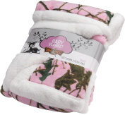 Trail Crest Baby Camo Soft Sherpa Blanket W/ Magnet, Pink Camo