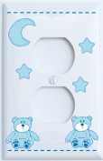 Blue Teddy Bear Outlet Cover with Blue Moon and Stars / Teddy Bear Nursery Decor