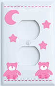 Pink Teddy Bear Outlet Cover Switch Plate with Blue Moon and Stars / Teddy Bear Nursery Decor