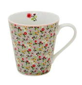 Coffee Cup Mug Coffee Cup - Floral Grauteebecher with Handle