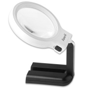 Fancii LED Lighted Hands Free Magnifying Glass with Light Stand - 2X 4X Large Portable Illuminated Magnifier For Reading, Inspection, Soldering, Needlework, Repair, Hobby & Crafts