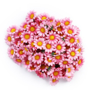 Gleader Approx 100pcs Artificial Gerbera Daisy Silk Flowers Heads for DIY Wedding Party