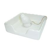 Better & Best 1821021 Ceramic Napkin Holder, Square, with Bird, White