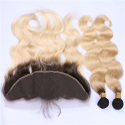 Tony Beauty Hair Peruvian Blonde Ombre Human Hair Weaves With Frontal Dark Roots 1B/613 Blonde Two Tone 13x4 Lace Frontal Closure With 3 Bundles 4 Pcs Lot