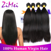 ZiMei Straight Extensions 100% Brazilian Virgin Human Hair Unprocessed Wefts Natural Colour 8A Grade 4 Bundles 12 12 14 14