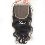 Vogue Queen Body Wave 5x 5 Lace Closure Virgin Brazilian Human Hair Lace Pieces with Baby Hair Natural Colour