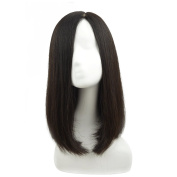 Remeehi 36cm Silk Base Straight Real Human Hair Wigs Clip in Toppers for Women
