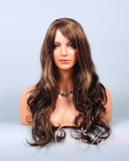 Soogo Fityous Brown Auburn Blonde Mix Layered Wig for Women Long Wavy Curly Bang
