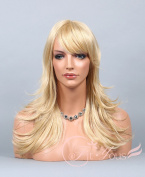 Soogo Fityous Golden / Light Blonde Mix Wig Long Layered Straight Bang Wig for Women