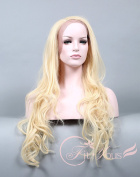 Soogo Lace Front Wig Curly Wavy Wig for Women Pale Blonde Extra Long Wig White Wig