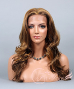 Soogo Fityous Lace Front Wig Curly Wavy Wig for Women Ombre Golden Blonde & Brown Mix Wig