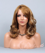 Soogo Fityous Light & Dark Blonde Mix Wig for Women Long Wavy Curly Bang Curl Wig
