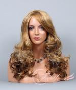 Soogo Blonde & Auburn 3 Tone Mix Wig for Women Long Wavy Curly Bang Curls Wig