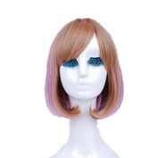 Mzcurse Womens Bob Pink Golden Blond Mixed Highlights Layers Synthetic Wig