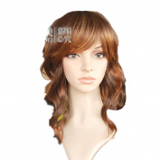 Mzcurse Womens Wavy Curly Wig Brown Blonde Ombre Mixed Highlights Layers