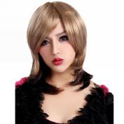 Mzcurse Womens Curly Wig Black Brown Blonde Ombre Mixed Highlights Layers