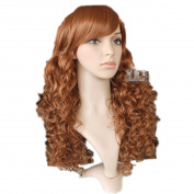 Mzcurse Womens Wavy Curly Wig Auburn Brown Layered Heat Resistant