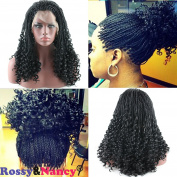 Rossy & Nancy Black Twist Braids Hair Wigs Curly Braided Lace Front Wig with Baby Hair Synthetic Heat Resistant Fibre Glueless Half Hand Tied for Women