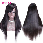 iVogue Hair Virgin Peruvian Human Hair Full Lace Wig with Side Bangs Silky Straight Glueless Lace Wig Human Hair 41cm -60cm 130denisty