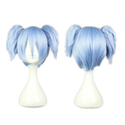 Kadiya Cosplay Wig Short Ice Blue Pigtails Synthetic Hair Top Quality