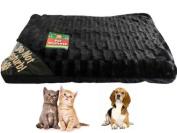 LARGE BLACK DOG CAT PET ANIMAL BED MATTRESS SOFT WARM FLEECE FUR LUXURY 80x58cm